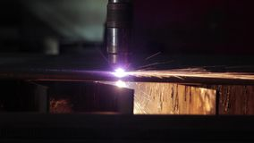 Machine with sparks, factory work stock video footage