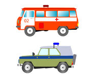 Machine to ambulance and police bodies Stock Photography