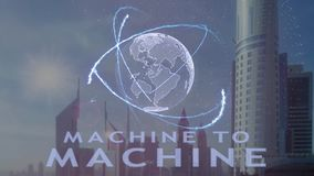 Machine to machine text with 3d hologram of the planet Earth against the backdrop of the modern metropolis vector illustration