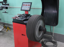 The machine tool for balancing of wheels stock photos