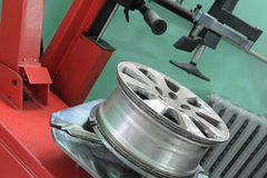 The machine tool for installation of tyre covers Stock Photo