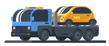 The machine for transportation of faulty vehicles. Lorry wrecker with car on platform. Road service and help. Flat vector illustration Stock Photo