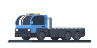The machine for transportation of faulty vehicles. Wrecker car. Lorry with platform. Road service and help. Vector flat illustration isolated on white Stock Image