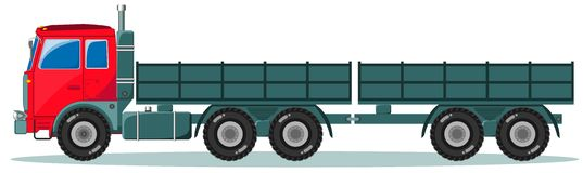 Machine with Two Empty Trailers, Vector Stock Image