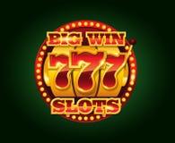 Machine van casino de vector gouden groeven met 777 aantallen Stock Afbeelding