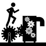The machine. Vector , illustration. A man is running on a gear that is connected to a machine Royalty Free Stock Images