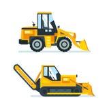 Machine voor knipsel, het stapelen van asfalt, vrachtwagens voor het schoonmaken gebieden stock illustratie