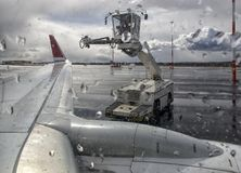 De-icer for airplanes, De-icing an aircraft wing. The machine washes the airplane with de-icer Stock Photography