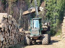 Machine for wood transport. South Bohemia Royalty Free Stock Photos