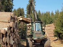 Machine for wood transport. South Bohemia Royalty Free Stock Images