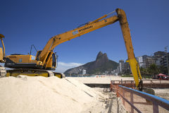 Machine working in Ipanema Beach Rio de Janeriro. In may 11 2015. Ipanema is one of the most famous touristic beaches in Brazil Stock Images