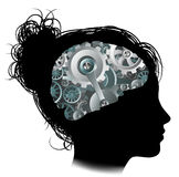 Machine Workings Gears Cogs Brain Woman Concept Stock Photography