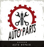 Machine and wrench icon. Auto part design. Vector graphic Royalty Free Stock Image
