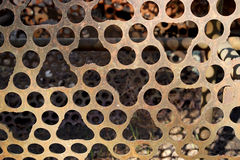 Machined holes in rusty sieve Royalty Free Stock Images