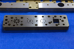 Machined steel plate for manufacturing tooling Stock Images