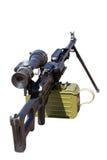 Machinegeweer dat op wit wordt geïsoleerdf Stock Foto's