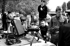 Machinegeweer en platenspeler Royalty-vrije Stock Afbeeldingen