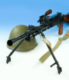 Machinegun And Helmet Royalty Free Stock Photos