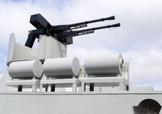 Machinegun on military boat royalty free stock images