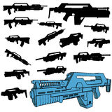 Machinegun silhouette set Stock Photos