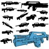 Machinegun silhouette set. A   machinegun silhouette set Stock Photos
