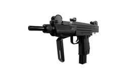 Machinepistool op witte achtergrond, pneumatisch wapen wordt geïsoleerd dat royalty-vrije stock afbeelding