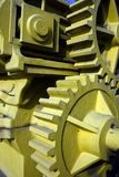 Machinery. Close up view of yellow painted heavy machinery.Used for outside exhibition stock images