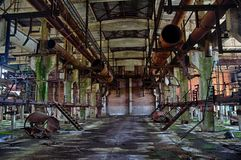 Machinery of abandoned factory of synthetic rubber.  Stock Photos