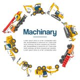 Machinery and construction equipment cars vector poster. Special machines for the building work. Forklifts, cranes. Excavators, tractors with bulldozers and royalty free illustration