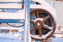 Machinery covered in snow. Piece of machinery covered in snow Stock Photography