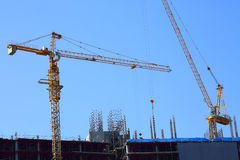 Machinery crane working in construction site building industry Stock Photo