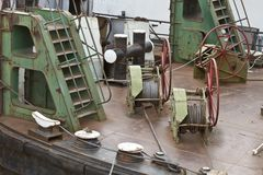Machinery on deck of the ship stock image