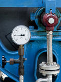 Machinery detail with pressure meter Royalty Free Stock Images
