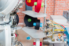 Machinery and equipment interior of textiles factory. Machinery and equipment interior of textiles factory can be use for fabric industry background Stock Image