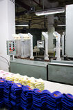 Machinery and equipment in a spinning production company interior design. Textile fabric Stock Photo