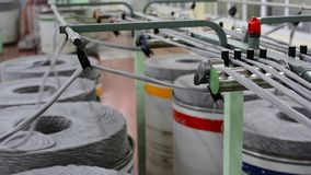 Machinery and equipment in the workshop. Interior of industrial textile factory. stock video