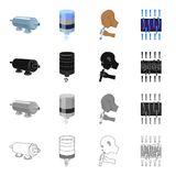 Machinery, filter, system and other web icon in cartoon style.Barrier, equipment, tools, icons in set collection. Machinery, filter, system and other  icon in Royalty Free Stock Photography