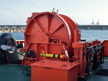 Machinery On the front of the ship. Powered by the control of the ship. Stock Photos