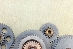Machinery gear details on industrial metal Stock Images
