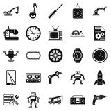 Machinery icons set, simple style. Machinery icons set. Simple set of 25 machinery vector icons for web isolated on white background Royalty Free Stock Images