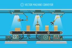 Machinery industrial factory conveyor belt. Vector machine conveyor. Machinery industrial factory packaging belt line illustration Stock Photos
