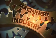 Machinery Industry on the Golden Cogwheels. 3D Illustration. Machinery Industry - Technical Design. Machinery Industry on the Mechanism of Golden Metallic Cog Stock Photo