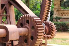 Rusty Gears Closeup. Machinery with large rusty gears in Ciutadella Park Stock Image