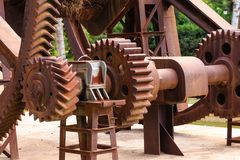 Rusty Gears Horizontal. Machinery with large rusty gears in Ciutadella Park Royalty Free Stock Photo