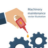 Machinery maintenance vector. Machinery maintenance. Repair of equipment. Worker man holding the oiler in hand, the lubricating mechanism. Vector illustration Stock Photography