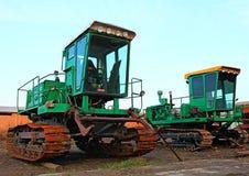 Machinery mechanism metal nature reaper. Harvester farm machinery metal tracks Royalty Free Stock Photography