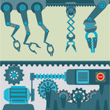 Machinery mechanisms and mine industrial technology mechanic vector parts Royalty Free Stock Photography