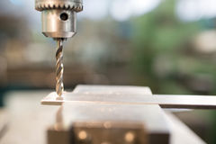 Machinery metal cutting process hole boring Royalty Free Stock Images