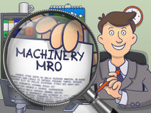 Machinery MRO through Magnifier. Doodle Design. Stock Image