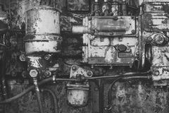 Machinery with oil dirt on grunge metal background. Industry, engineering, machine. Old technology, vintage. Factory, manufacture equipment Device tool gear Royalty Free Stock Photography
